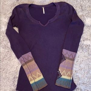 Free People boho thermal long sleeve v neck small
